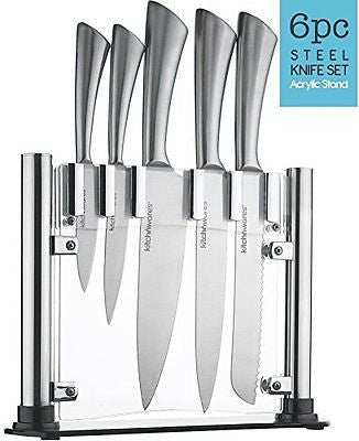 6 Piece Stainless Steel Knife Set Acrylic Stand Cutlery Set For Cutting Carving