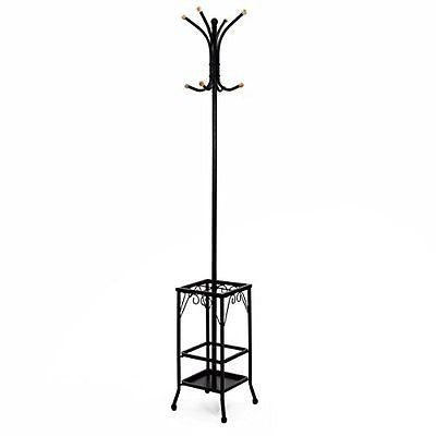 Songmics Standing Coat Rack with Umbrella Holder 8 Hooks Metal Black Finish