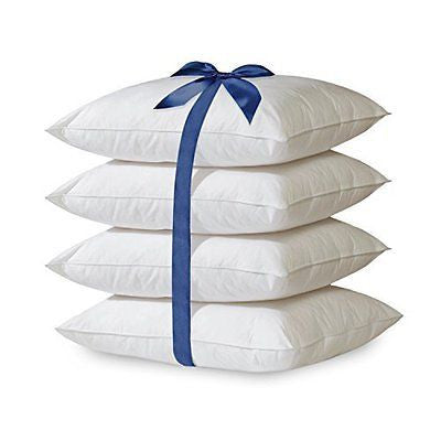 4 Piece 100% Cotton Hypoallergenic Down Alternative Bed Pillows (Queen)