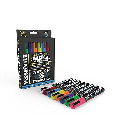 Liquid Chalk Markers by VersaChalk - Non Toxic Wet Erase Chalkboard Window
