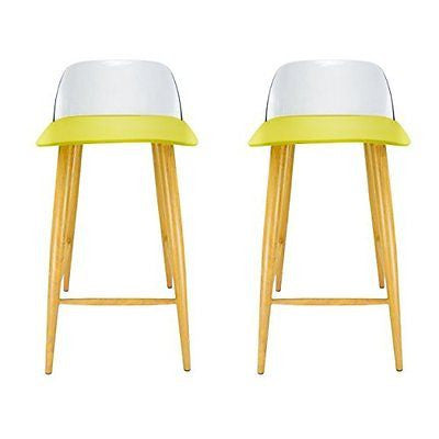 VECELO 24-Inch Green Bar Stool with Back, Set of 2