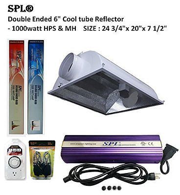 "SPL Horticulture Grow Light HPS Mh Plants Ended 6""cool Tube Reflector Set"