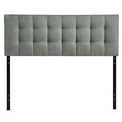 LexMod Lily Fabric Headboard Queen Gray