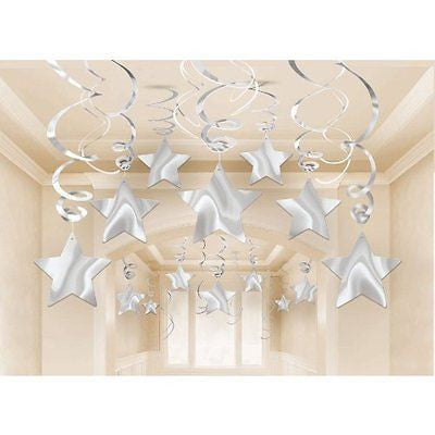 Amscan Lustrous Shooting Star Swirl Decorations Mega Value Pack, Silver