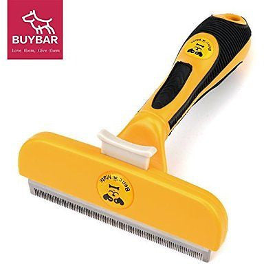 "BUYBARTM Dog Brush For Deshedding 4"" Pet Grooming Shedding Brush with Fur Ejecto"
