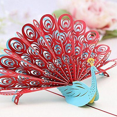 GUchina Peacock 3D Pop Up Greeting Card Handmade Kirigami