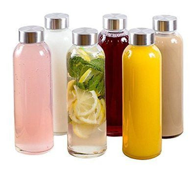 Glass Water Bottles 18 oz, Stainless Steel Cap - Case of 6