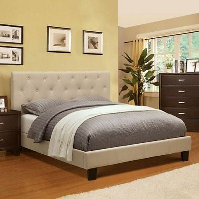 Corbin Modern Style Ivy Finish Cal King Size Flax Fabric Bed Frame Set