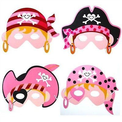 AbbeyShake Girls Pirate Masks X 4 - Party Bag Fillers - Fancy Dress