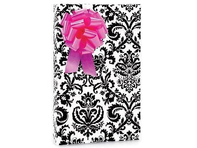PAISLEY FLOURISH Black & White Gift Wrapping Paper - 16 Foot Roll