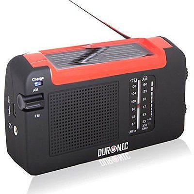 Duronic Hybrid Hand crank, self-powered, Solar AM/FM Radio