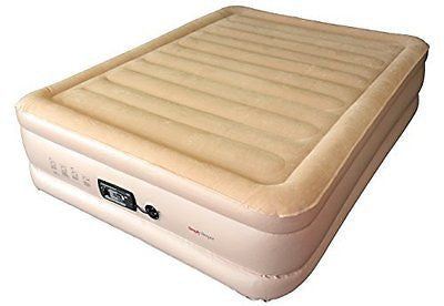 Queen Raised Air Bed with Flock Top and Quick Inflating Built-in Pump