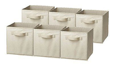Foldable Storage Cube Basket Bin 6 Pack Beige