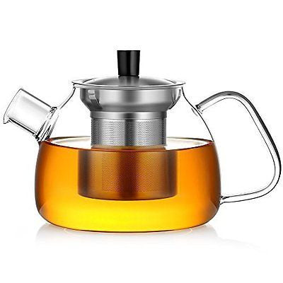 Glass Teapot Infuser & Lid Pyrex Glass Teapots Stovetop Safe Tea Kettle 900ML
