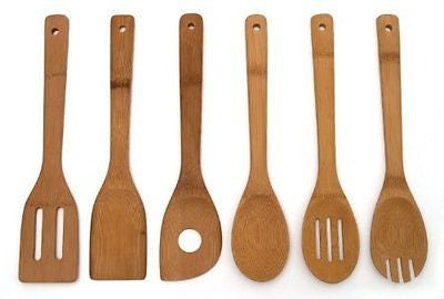 Lipper International 826 Set of 6 Bamboo Kitchen Tools in Mesh Bag