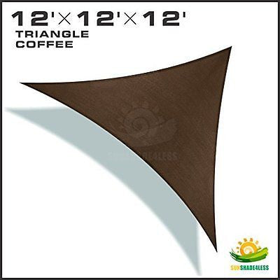 Windscreen4less? 12'x12'x12' Sun Shade Sail Canopy Brown -3rd Generation - Comme