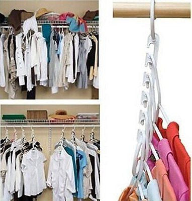 2PCS Wonder Hanger Closet Clothes Organizer/Space Saver Storage White Plastic