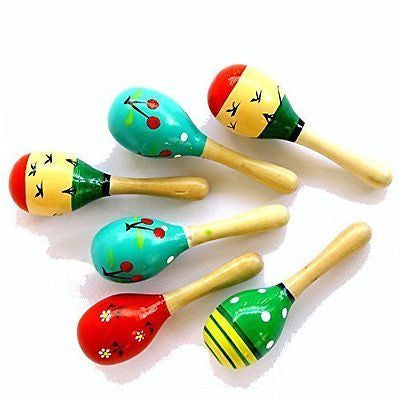 Dazzling Toys Mini (5 Inch) Wooden Fiesta Maracas - Pack of 12