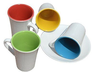 3 oz. Espresso Cups & Saucers. Set of four Assorted Colors Inside