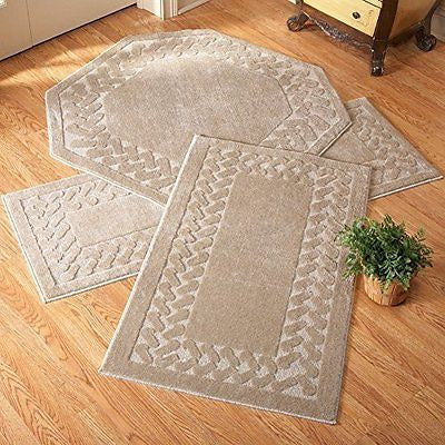 Collections Etc Herringbone Trim Accent Rugs, Octagon, Sand