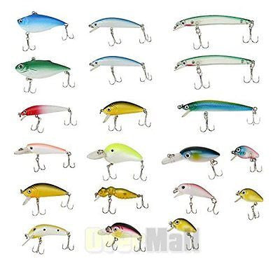 Lot 20pcs Kinds of Fishing Lures Crankbaits Hooks Minnow Baits New