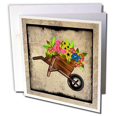 Susan Brown Designs Flower Themes Flowers in Wheelbarrow 1 Greeting Card