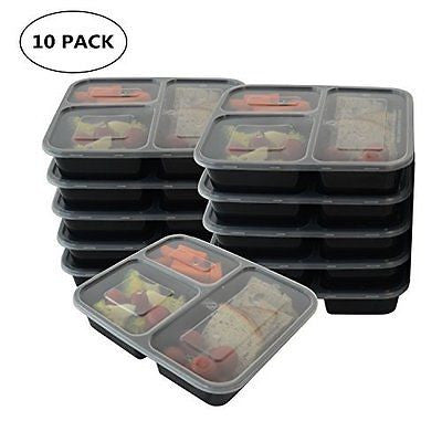 3-Compartment Bento Box / Lunch Boxes Food Storage [10 Pack]