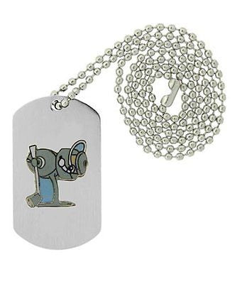 Military Emblem Dog Tag w/ Metal Chain Necklace - Animal - Fishing - Spinning