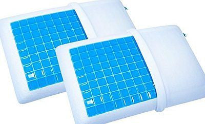 2 Pack - PharMeDoc Memory Foam Pillow with Cooling Gel - #1 Most Comfortable