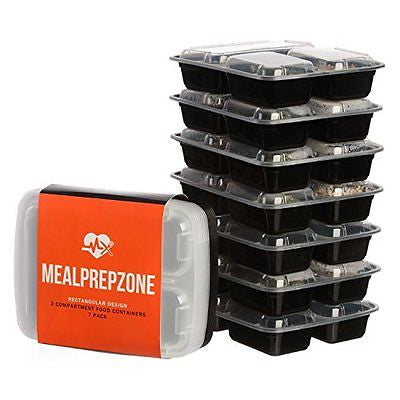 Meal Prep Zone 3 Compartment Food Storage Containers Lids for Portion Control