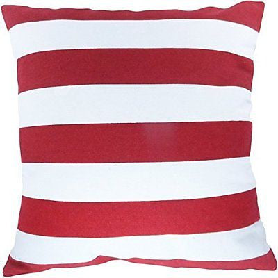 "Decorative Printed Stripes Throw Pillow Cover 18"" Red"