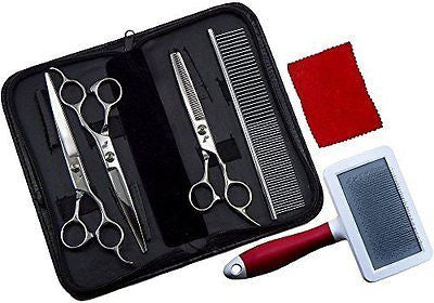 Pet Grooming Kit - 7-inch Stainless Steel Scissors Set with Comb and Slicker