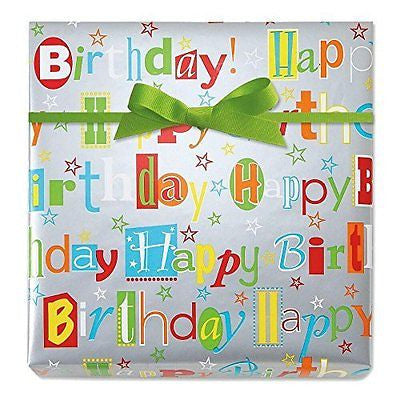 Happy Birthday Wishes Jumbo Rolled Gift Wrap - 72 sq. ft.