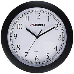 Lorell Wall Clock with Arabic Numerals, 9-Inch, White Dial/Black Frame