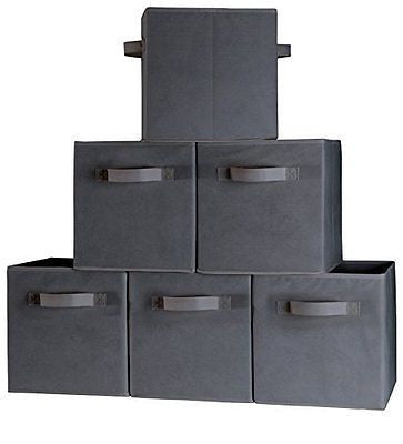 Dual Handle Storage Cubes - Set of 6 Dark Gray Storage Bins for Cube Storage