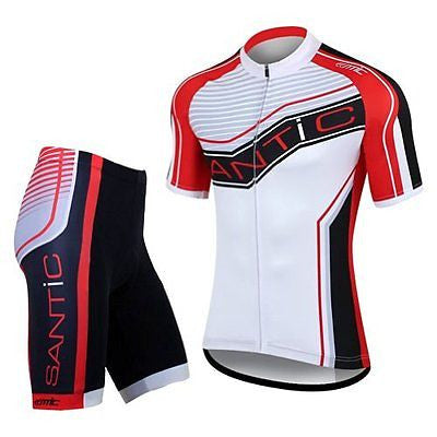 Santic Cycling Men Breathable Suits Short Sleeve Sets Bicycle Jersey Cloth Wear