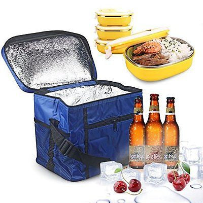 Large Insulated Bag, Oumers Lunch Tote Bag Box Cooler Bag, Silver Interior