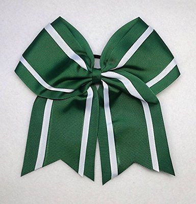"6 1/2"" Forest Green and White 3 Ribbon Hair Bow"