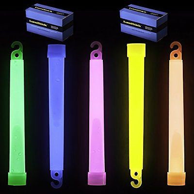 "6"" Premium Lumistick Glow Light Sticks Mixed Colors (50 Sticks)"