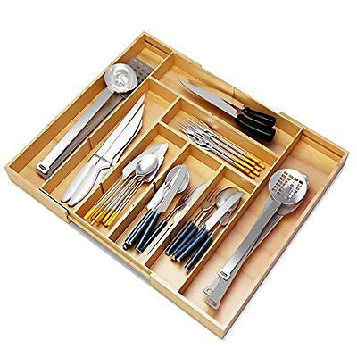 Best Silverware Kitchen Drawer Organizer -Expendable Bamboo Tray