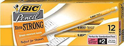 BIC Pens & Pencils Xtra Strong (Yellow Barrels), Thick Point (0.9 mm), 12-Count