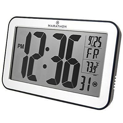 MARATHON CL030033SV Atomic Self-setting Self-adjusting Wall Clock w/ Stand & 8