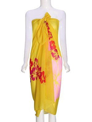 Flowers Printed Chiffon Belt Dress Yellow And Blue Beach Towels