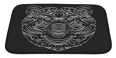Gear New Ornamental White Line Bear Bath Mat Rug, Microfiber Memory Foam
