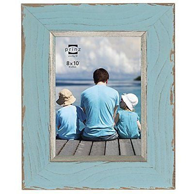 Prinz Clearwater Distressed Wood Frame with Gilded Border, 8 by 10-Inch, Blue