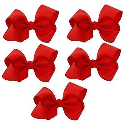 Greatlookz Extra Large Grosgrain Ribbon Bow Set of 5, Red