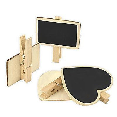 eBoot 12 Pieces Mini Wooden Blackboard with Note Photo Paper Clips for Message