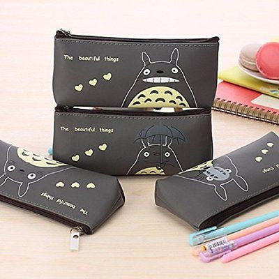 Funnylive?Enhanced Black Jelly Glue Pen Bag Totoro Cute Pencil/pen Bag Pouch