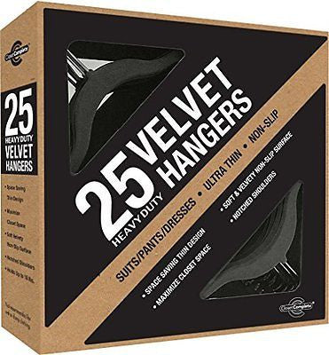 Ultra Thin Heavy Duty No Slip Velvet Suit Hangers Black Set of 25