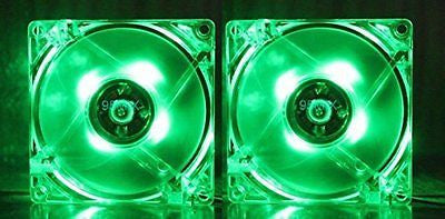 RiteCool (2 Pack) Green LED Case Fan 120mm 12v DC Computer Desktop Fan
